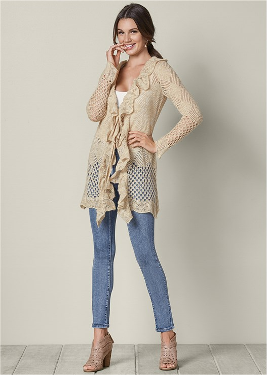 RUFFLE DETAIL CARDIGAN,SEAMLESS CAMI,COLOR SKINNY JEANS,PERFORATED BOOTIE