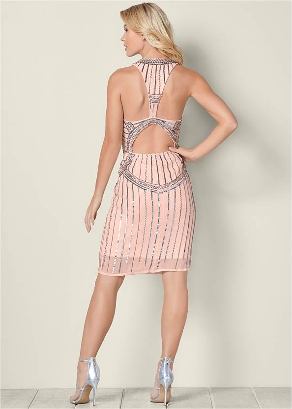 BACK VIEW Beaded Mini Dress