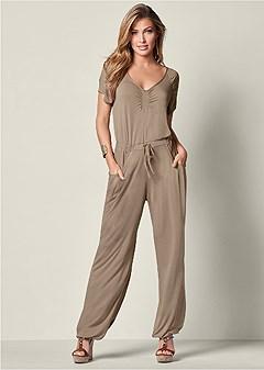 drawstring waist jumpsuit