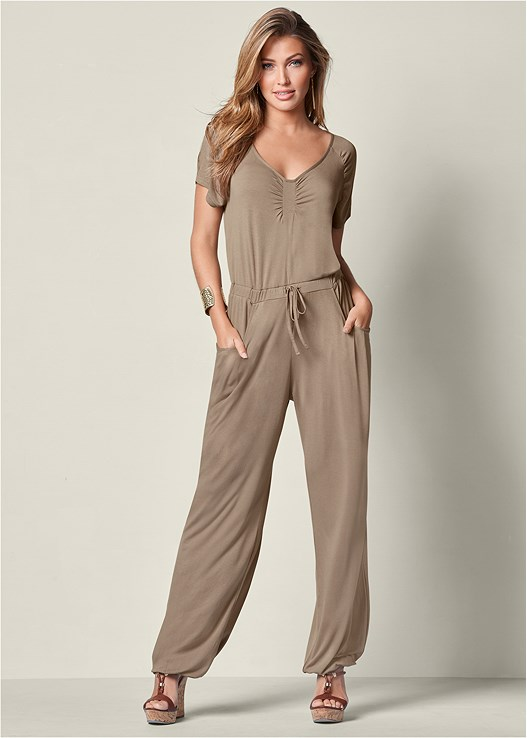 DRAWSTRING WAIST JUMPSUIT,BRAIDED DETAIL WEDGES