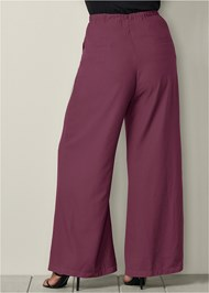 Back View Belted Wide Leg Pants