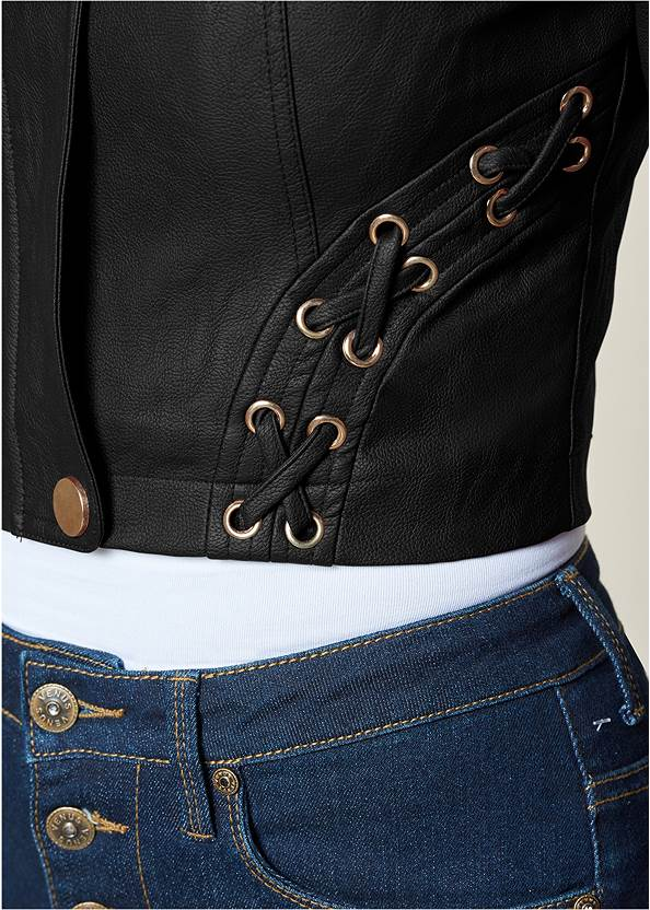 Alternate View Faux Leather Lace Up Jacket