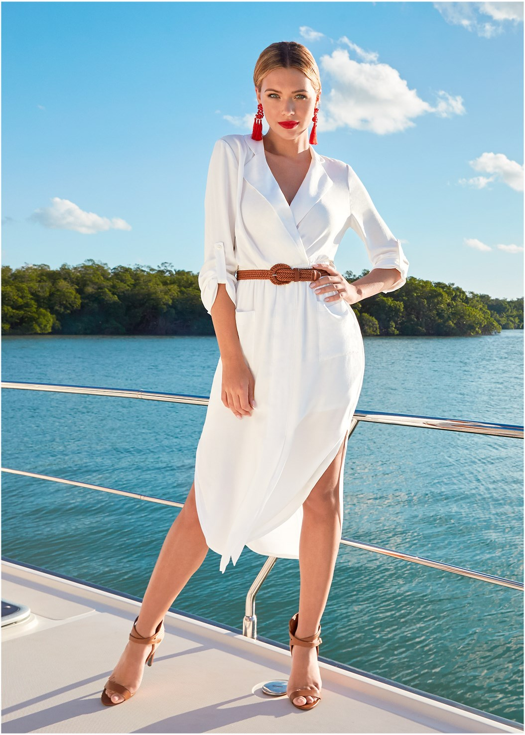 Belted Midi Shirt Dress,Cupid U Plunge Bra,Raffia Detail Heels,Tassel Earrings