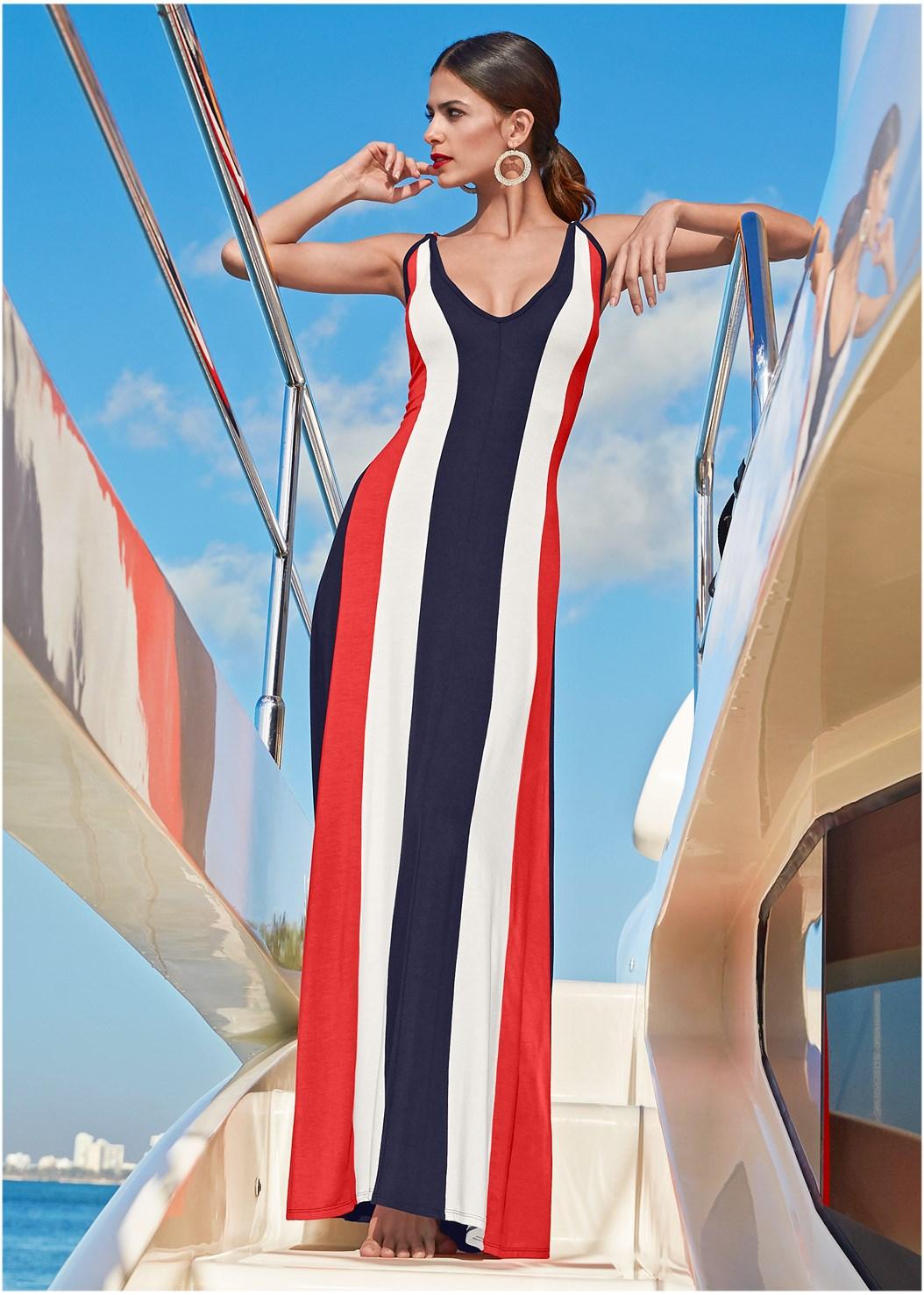 Color Block Maxi Dress,Circle Detail Handbag