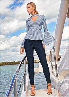 stripe v-neck blouse
