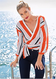 stripe wrap top