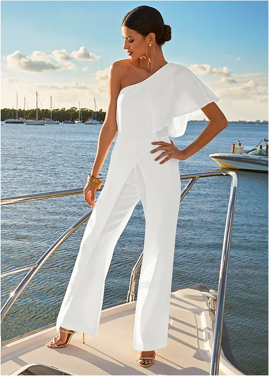 ONE SHOULDER JUMPSUIT,CONVERTIBLE LACE PUSHUP BRA,HIGH HEEL STRAPPY SANDALS,HOOP DETAIL EARRINGS,BANGLE SET