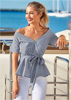 belted stripe surplice top