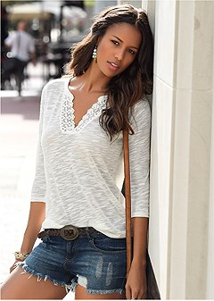 lace detail henley