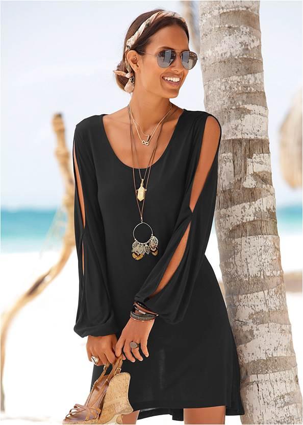 Sleeve Detail Dress,Rhinestone Thong Sandals,Tassel Hoop Earrings,Sequin Straw Crossbody Bag
