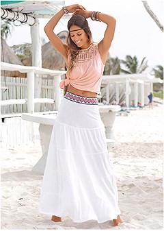 trim detail maxi skirt
