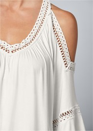 Alternate View Cold Shoulder Lace Trim Top