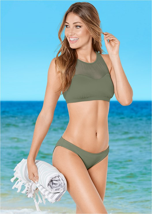 MESH HIGH NECK BIKINI TOP,LOW RISE BIKINI BOTTOM