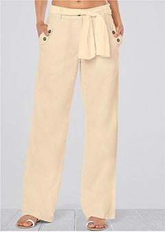 linen belted pants