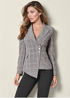 asymmetrical plaid blazer