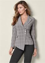 asymmetrical plaid blazer
