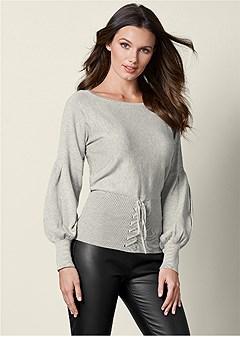 corset puff sleeve sweater