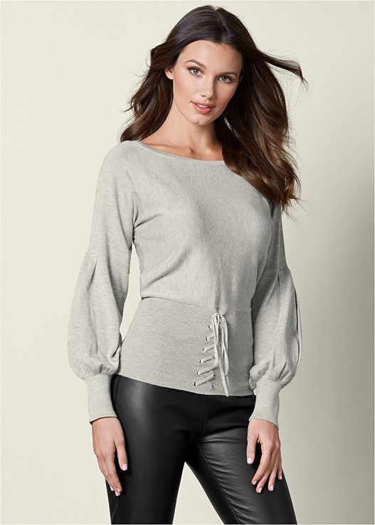 CORSET PUFF SLEEVE SWEATER