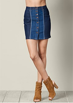 two tone jean skirt