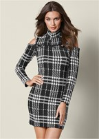 plaid cold shoulder dress