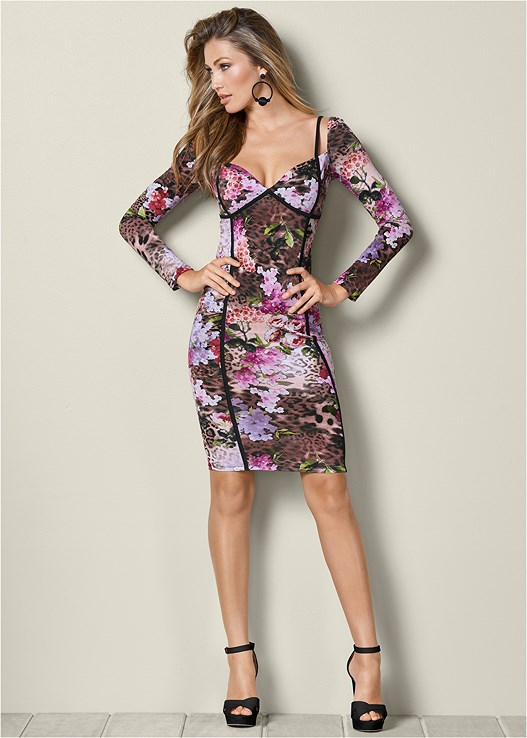 FLORAL BODYCON DRESS,BAUBLE HOOP EARRINGS