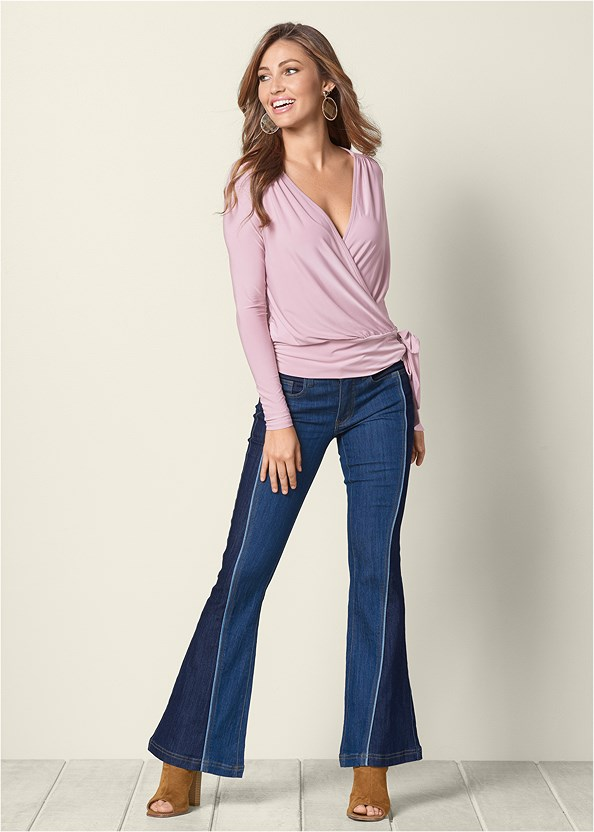 Two Tone Jeans,Surplice Side Tie Top,Open Heel Booties