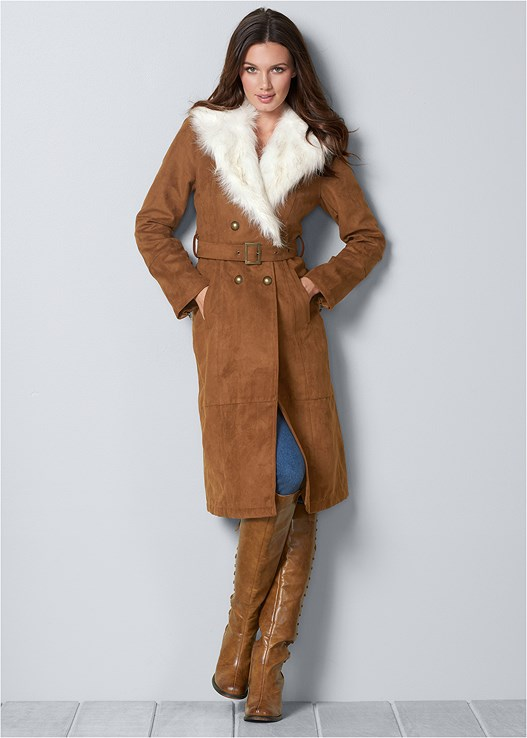 FAUX SUEDE LONG COAT,COLOR SKINNY JEANS,LACE UP DETAIL BOOTS,FRINGE SCARF