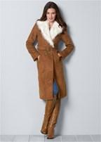 faux suede long coat
