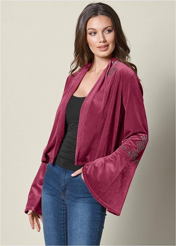 Embellished Velvet Jacket,Mid Rise Color Skinny Jeans,Open Heel Booties,Basic Cami Two Pack