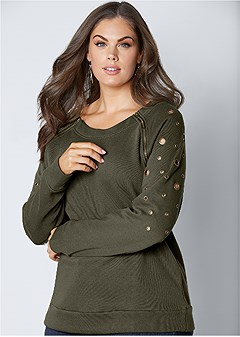 plus size zipper detail sweatshirt