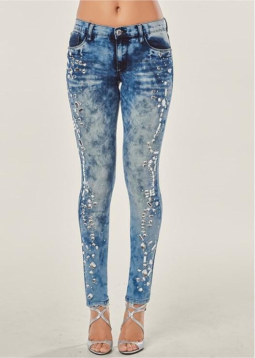 RHINESTONE SKINNY JEANS,SEAMLESS MOCK NECK TOP