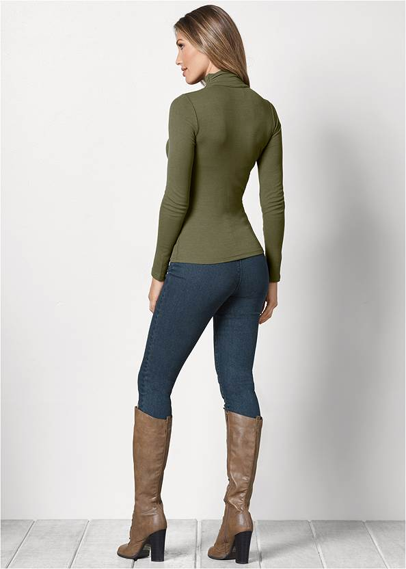 Back View Cut Out Mock Neck Top
