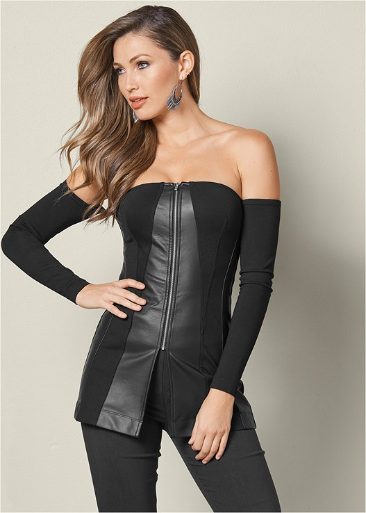 FAUX LEATHER PANEL TOP,SLIMMING STRETCH JEGGINGS,PERFORATED LACE UP HEEL
