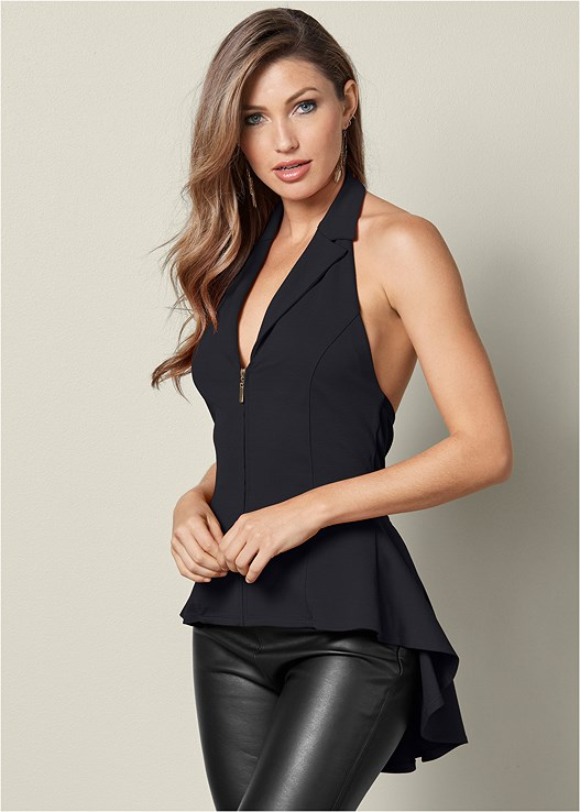 ZIP UP HALTER TOP