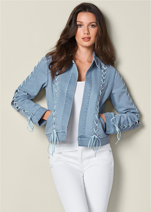 LACE UP DETAIL JEAN JACKET,SEAMLESS CAMI,COLOR SKINNY JEANS,OPEN HEEL BOOTIE,FRINGE BACKPACK