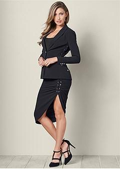 lace up skirt suit set