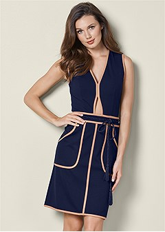 cut out detail belted dress