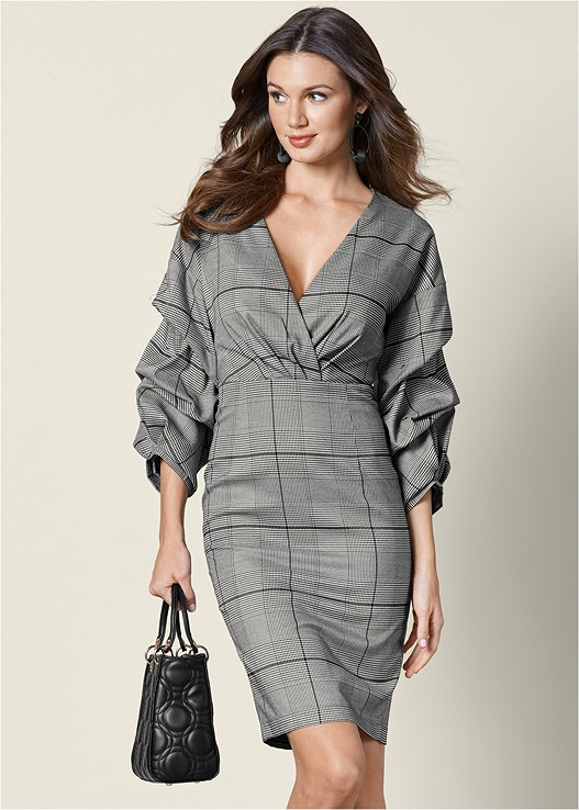 SLEEVE DETAIL MIDI DRESS,STRUCTURED HANDBAG