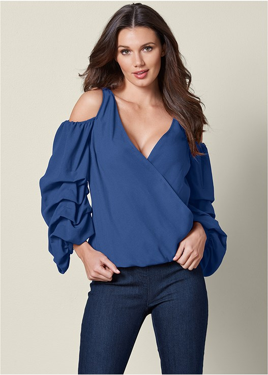 COLD SHOULDER SURPLICE TOP,SLIMMING STRETCH JEGGINGS