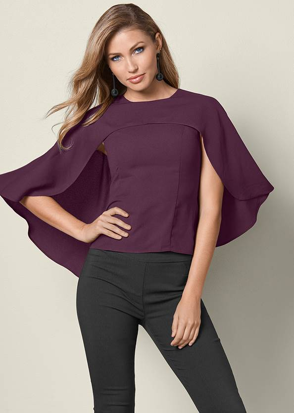 Cape Top,Mid Rise Slimming Stretch Jeggings