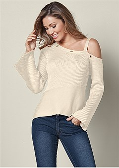 grommet detail sweater