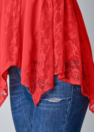 Alternate View Lace Inset Smocked Top