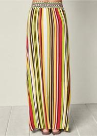 Back View Stripe Print Maxi Skirt