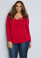 plus size side lace up top