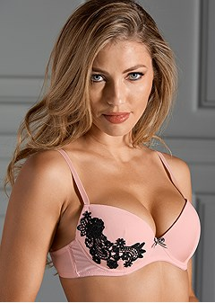 lace applique push up bra