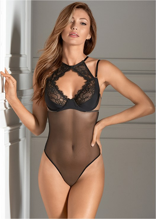 1cff2d22b Black EYELASH LACE SHEER BODYSUIT from VENUS