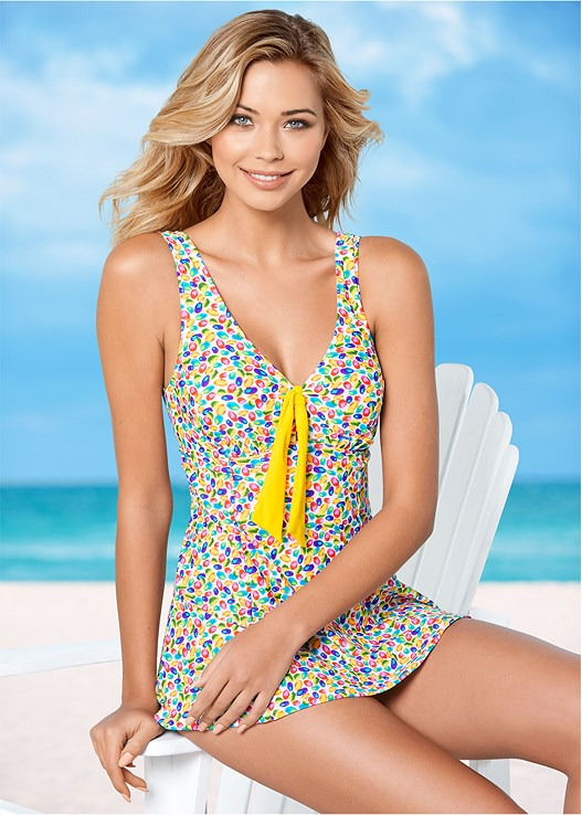 TIE FRONT SWIM DRESS,TROPICAL TOTE BAG
