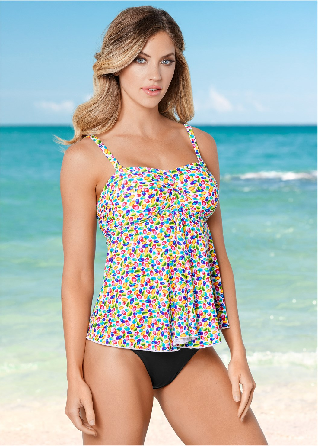 Flyaway Tankini Top,Mid Rise Hipster Classic Bikini Bottom,Full Coverage Mid Rise Hipster Bikini Bottom