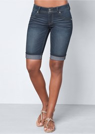 Front view Long Jean Shorts