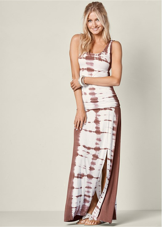 0ac12bb029e TIE DYE MAXI DRESS in Brown Multi